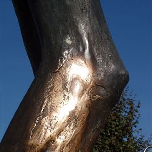 The Risen Lord statue ozing miracle oil behind St. James Church in Medugorje.