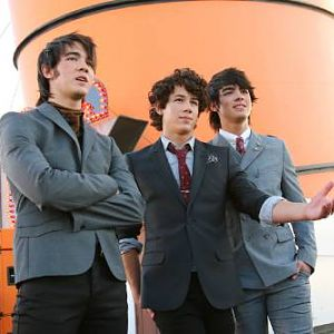 Jonas Brothers on the set of music video S.O.S
