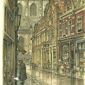Anton Pieck- Warmoesstraat in Haarlem ( Warmoesstreet in the city of Harlem)